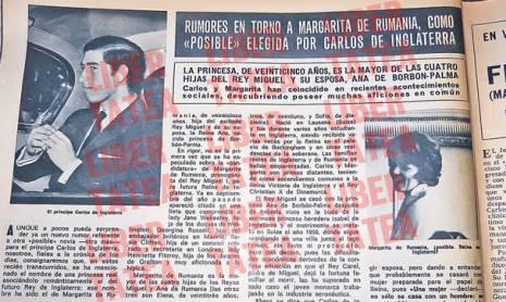 """Iată pagina din revista spaniolă Hola (iulie 1974), care găzduiește întreaga poveste dintre Charles și Margareta. Explicația la fotografia principesei este: """"Margareta de România, viitoarea regină a Angliei?"""""""