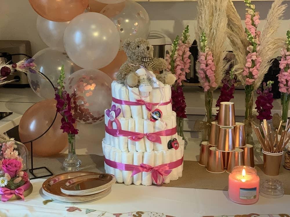Gâteau de couches baby shower