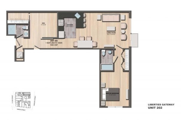 Liberties Gateway Apartment 202 Floorplan