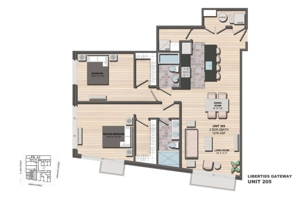 Liberties Gateway Apartment 205 Floorplan