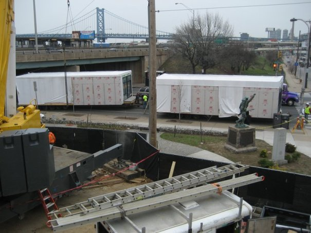Modular Apartments Being Delivered to the Site - 34 Tractor Trailer Loads