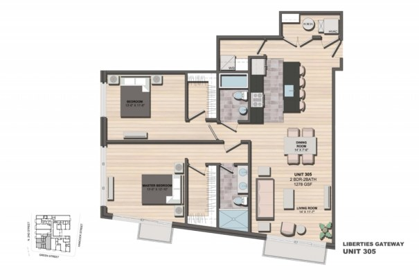 Liberties Gateway Apartment 305 Floorplan