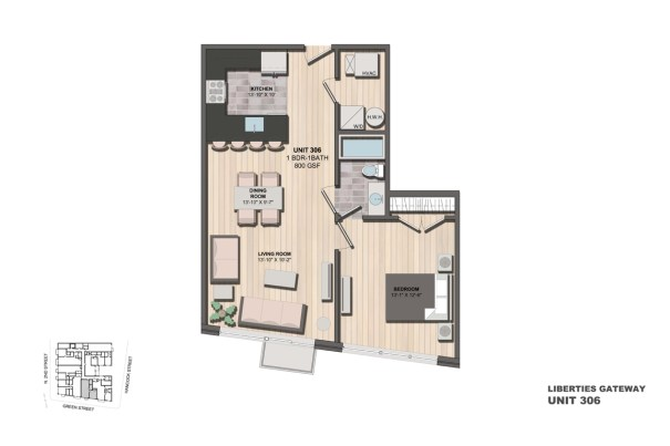 Liberties Gateway Apartment 306 Floorplan
