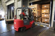 moving packages using forklift