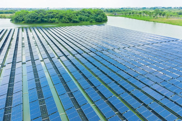 solar panels shot by drone