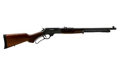 New Henry Lever Action .410 Carbine Shotgun, 410Ga, 20″ Round Barrel, Blued Frame, Pistol Grip American Walnut Stock w/Rubber Buttpad, 5 Rounds, Fully Adjustable Semi-Buckhorn Rear Sight, and Brass Beaded Front Sight: $698