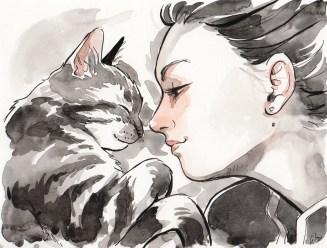 portrait-fille-chat-aquarelle