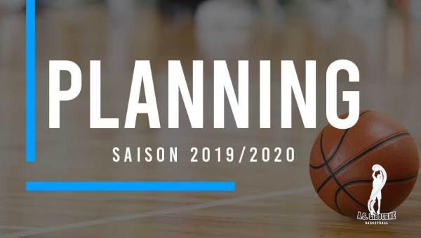 Planing entrainements saison 2019 2020