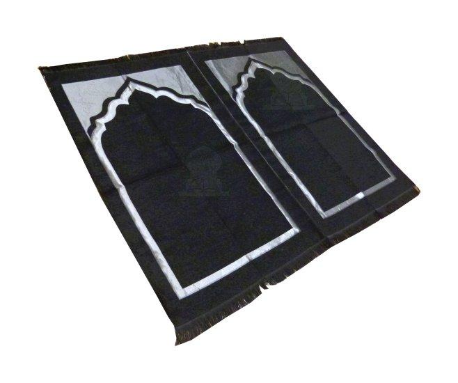 tapis de priere 3 places noir argente pret a porter et accessoires sur librairie islamique com