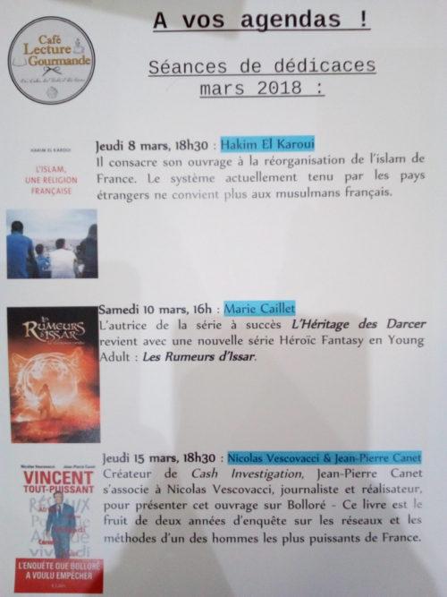 Rencontre Librairie Nicole Maruani Mars 2018