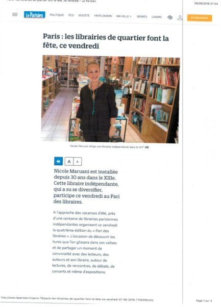 Le parisien 8 JUIN 2018 Maruani Librairie
