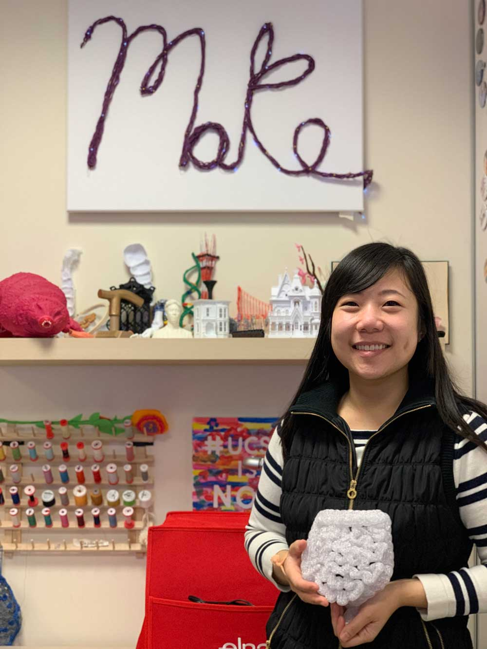 Picture of Dr. Zhou with 3D pritned GI tract model