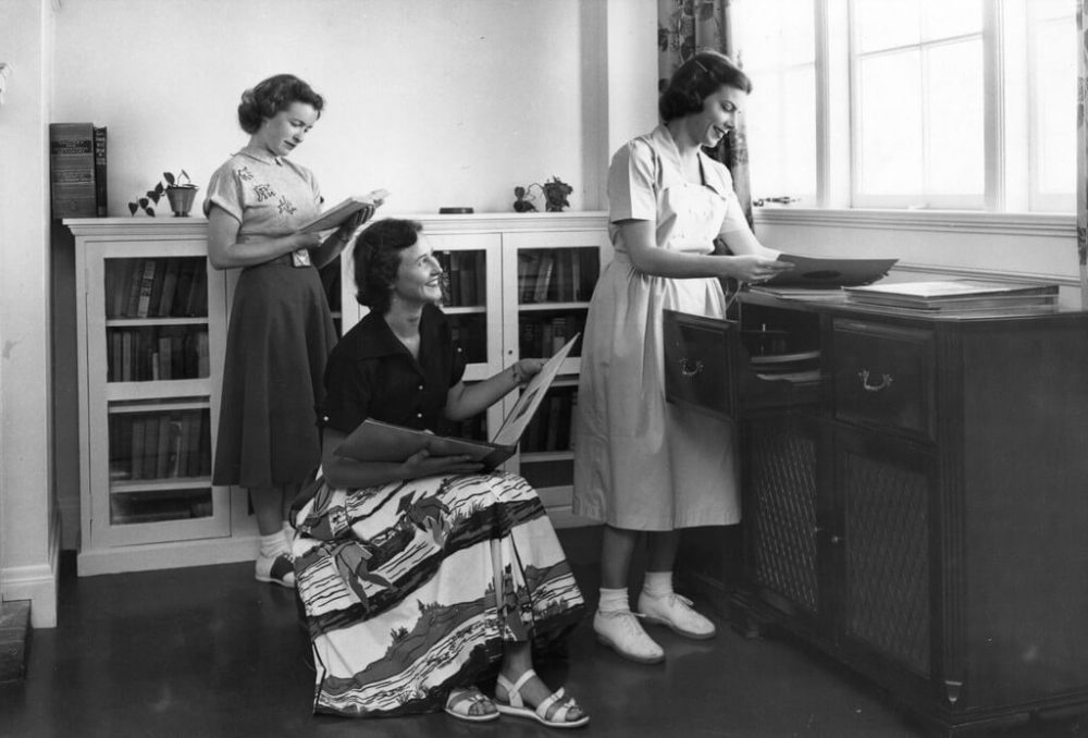 Nurses playing records