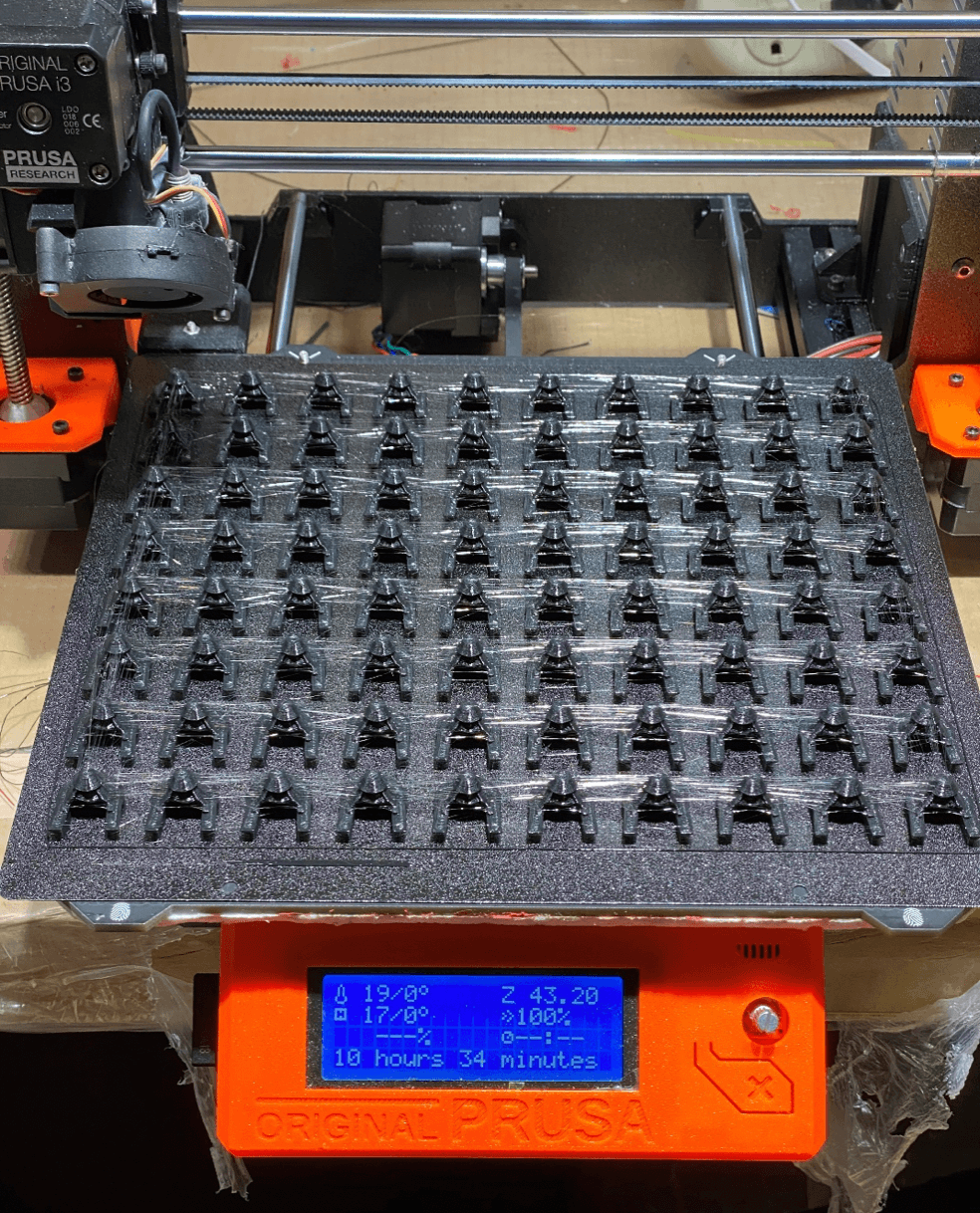 Multiple PAPR clips on 3D printer bed