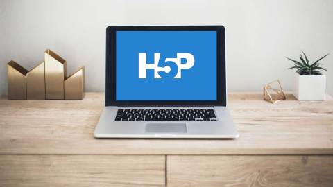 laptop with h5p on screen