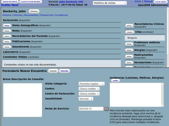 OpenEMR registro de consultas