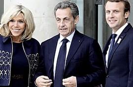 Sarkozy tra i coniugi Macron