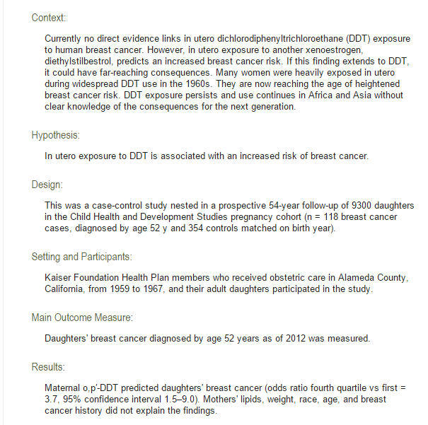 DDT Exposure in Utero and Breast Cancer. Estudio de Barbara Cohn del The Journal of Clinical Endocrinology & Metabolism