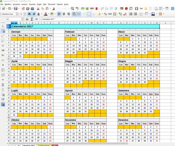 Un mini calendario 2017