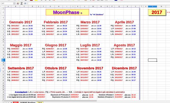 Il calendario perpetuo con fasi lunari