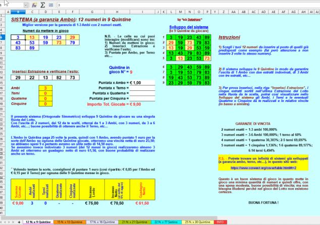 Calcolatore Lotto System