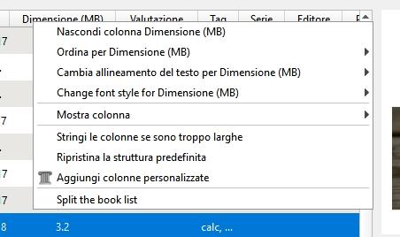metadati di Calibre: menu contestuale colonne