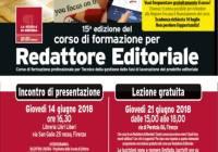 Giovedì 14/06/2018 – Presentazione corso Redattore Editoriale