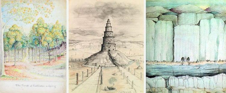 De izquierda a derecha: el bosque de Lothlorien en primavera, la Torre de Orthanc y la entrada de Moria en ilustraciones de Tolkien