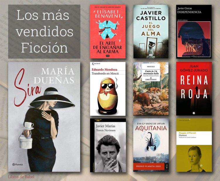 Portadas de los libros de ficción más vendidos en las librerías españolas la semana del 19 al 25 de abril de 2021.