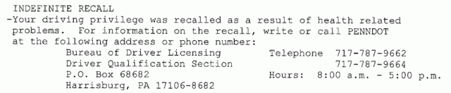 Indefinite Recall suspension phone number PennDOT