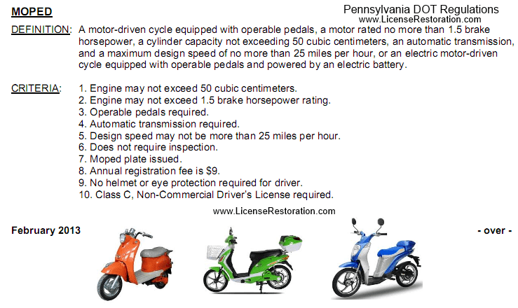 can i drive a moped or electric bike in pennsylvania? • license