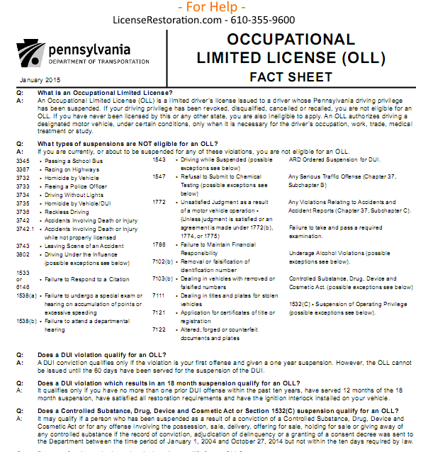 OLL – Work License – Bread & Butter – Fact Sheet