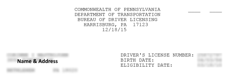 Restoration Requirements Letter From PennDOT • License