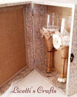Estuche decoupage para copas decoradas vintage