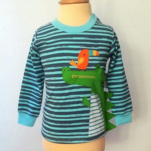 Camisetas bebé manga larga cocodrilo azúl