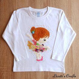 camiseta manga larga hecha a mano bailarina