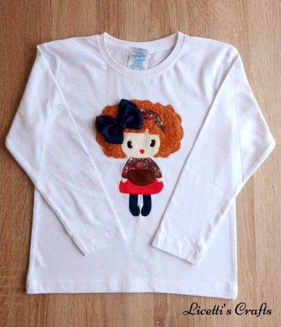 camiseta manga larga hecha a mano lazo