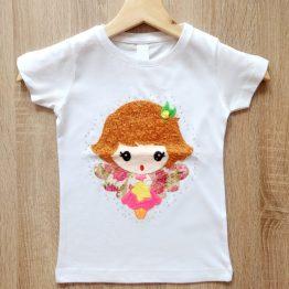 camiseta manga corta hada angelito en relieve hecho a mano