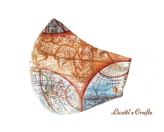 mascarilla higinieca reutilizable mapa mundi