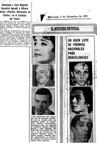1972-12-06-El Noticiero Universal-homenaje a J. Magriñá, Asunción Aguadé y Alfonso Rovira Premios Nacionales de Teatro