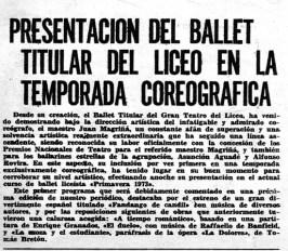 1973-Presentación del Ballet Titular del Liceo en la temporada coreografica