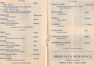 1961 - Palacio de la Música - Galas coreograficas - Orfeo-variacion-granada-variacion romantica-orgia-sevilla-zambra-danza de la molinera-zapateado-goyescas-viva navarra-paso a cuatro-malagueñas-danza XI-el tripili-la vida breve-danza gitana-rumores de la caleta
