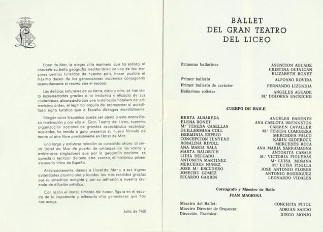 1968 - Lloret de Mar - festival de verano - cuerpo de baile