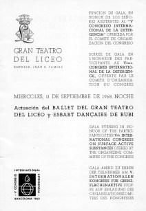 1968 - Gran Teatro del Liceo - presentación-ballet del Liceo