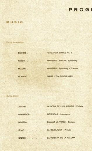 1971-10-08- Sopar de Gala I.F.C.T.I.-Boleras de Jiménez-Danza Castellana de Alfonso-Sevillanas-Danza XI de Granados-Romance del despecho de Jimenez-Mazurca de los paraguas de Jimenez-Mazurca de los Paraguas de Jiménez-Malagueñas de Solana-Danza del Fuego de Falla- Garrotin (popular)-La reja (popular)-Bolero de caspe y jota aragonesa de Bretón-