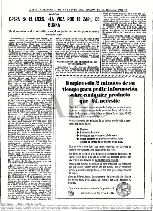 """1969-01-15-ABC-pag. 73-Opera en el Liceo""""La Vida por el Zar"""", de Glinka"""