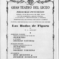 1962-63 - Programa Liceu- Temporada d'opera d'hivern del 3/11/1962 al 11/02/1963-Las Bodas de Figaro- Elektra-SOIRÉE VIENNESE-Don Quijote-eugene Onieguin