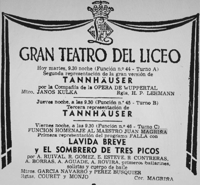1973-02-13-La Vanguardia-TANNHAUSER-LA VIDA BREVE-SOMBRERO DE TRES PICOS