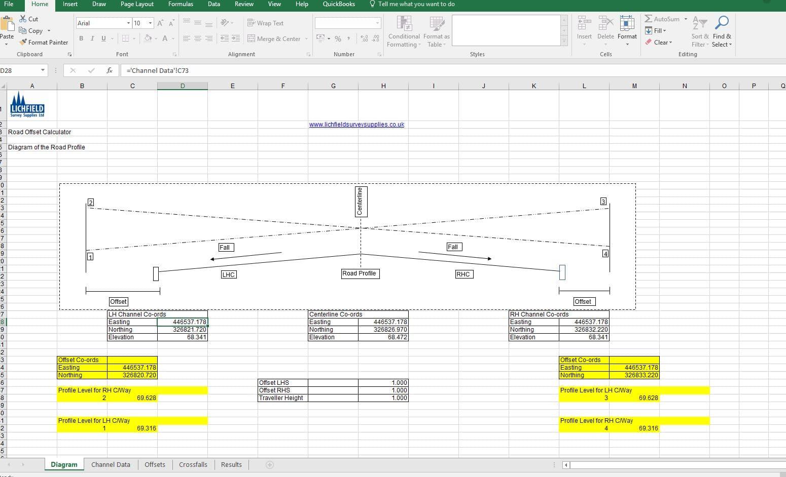 LSSL Road Offset Calculator Spreadsheet | Lichfield Survey Supplies