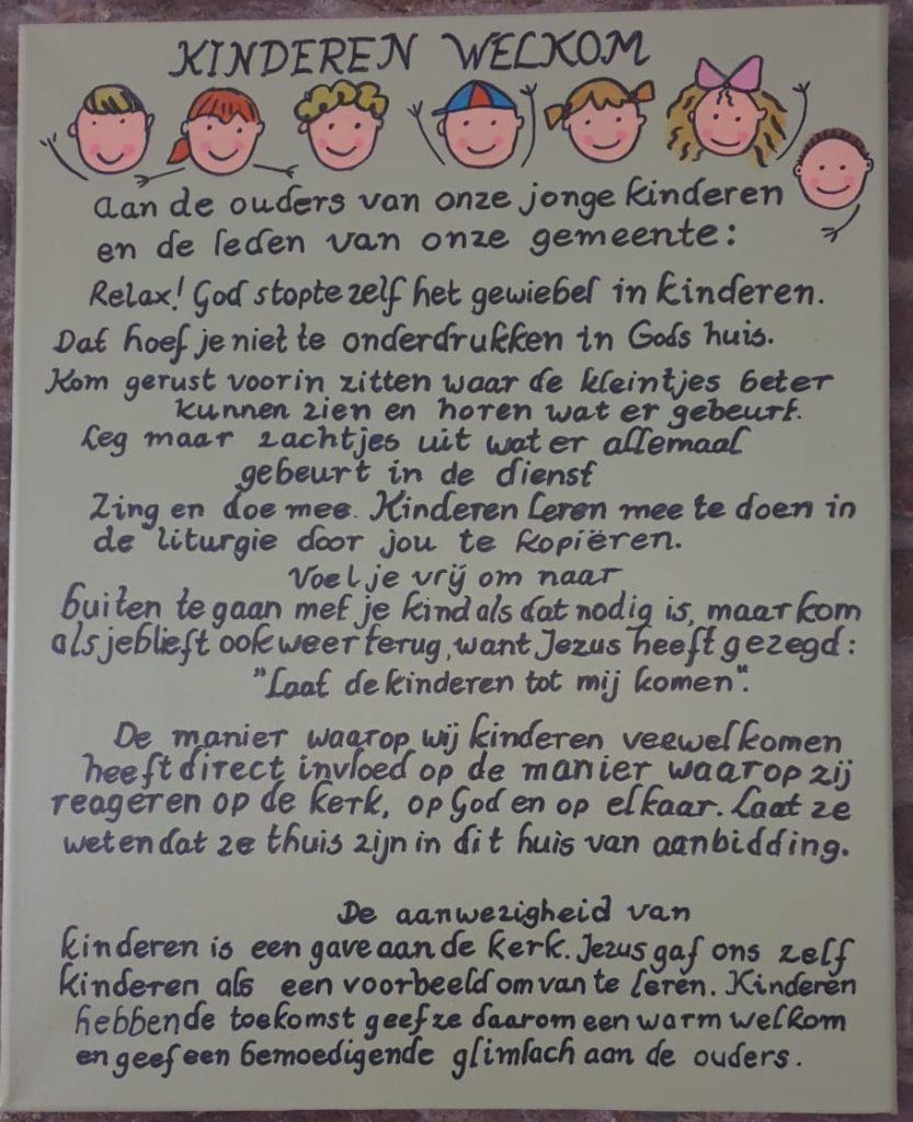Kinderen welkom in de kerkdienst